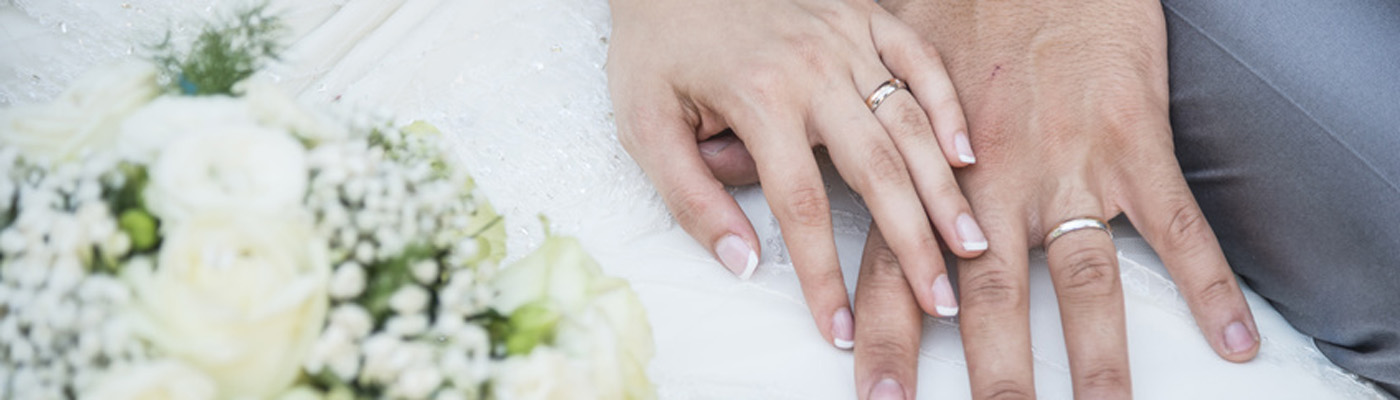 wedding rings on hands male and female